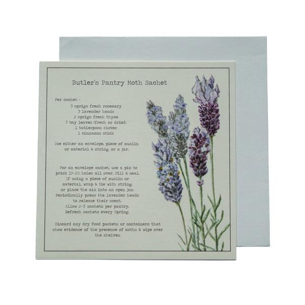 Butlers Pantry Moth Sachet Recipe Greeting card