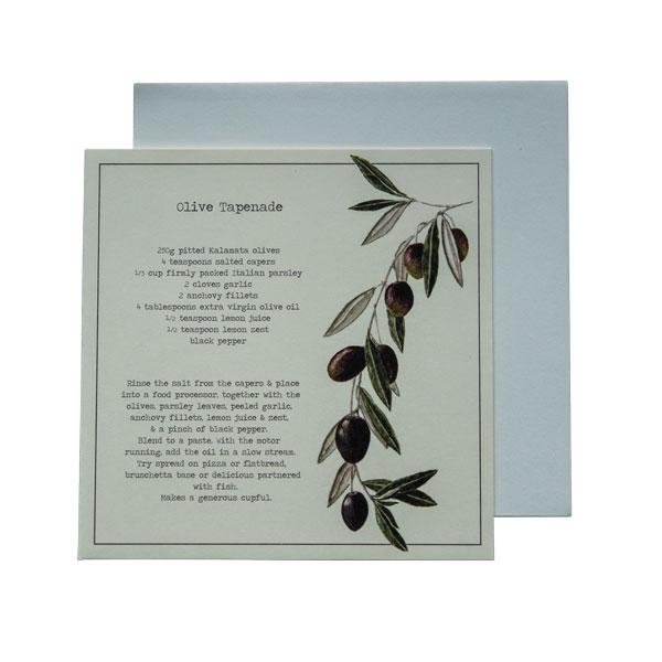 Olive Tapenade Recipe Greeting Card