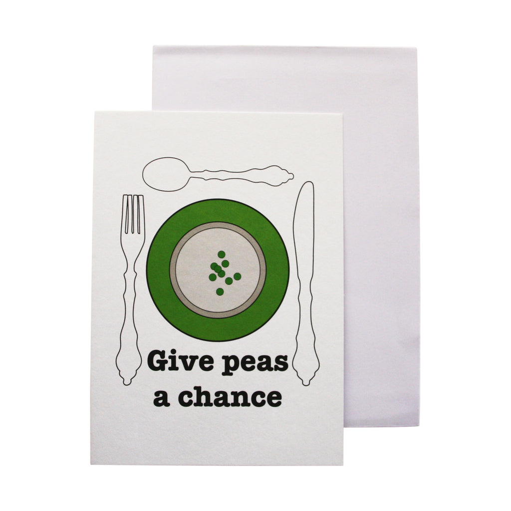 'Give peas a chance' card