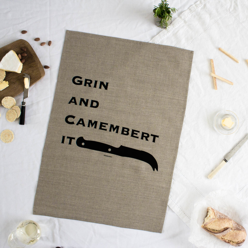 Grin and Camembert it - 100% linen tea towel