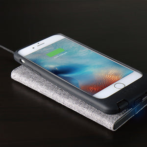 FabricDock Wireless Charger (qi) Cool Grey - qi certified - Homicreations.com - SUSTAIN Heated Scarf, iPhone 8, iPhone 8 Plus, iPhone X qi wireless charging docks, QC 2.0 car chargers & MFI lightning cables