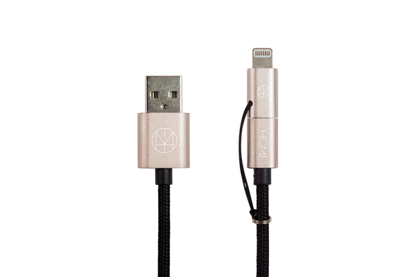Lightning 2 Way Micro USB to USB Cable (MFI Certified) Gold - Homicreations.com - SUSTAIN Heated Scarf, iPhone 8, iPhone 8 Plus, iPhone X qi wireless charging docks, QC 2.0 car chargers & MFI lightning cables