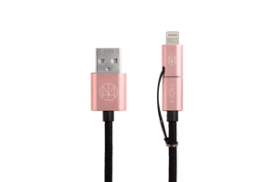 Lightning 2 Way Micro USB to USB Cable (MFI Certified) Rose Gold - Homicreations.com - SUSTAIN Heated Scarf, iPhone 8, iPhone 8 Plus, iPhone X qi wireless charging docks, QC 2.0 car chargers & MFI lightning cables