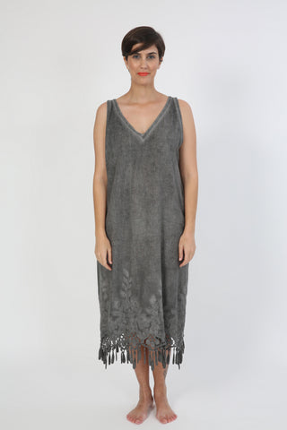 SLEEVELESS GALABEYA CHARCOAL LACE