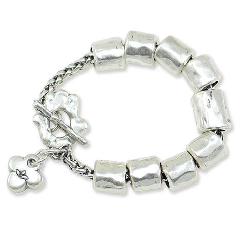 DECORATED SILVER TUBES BRACELET
