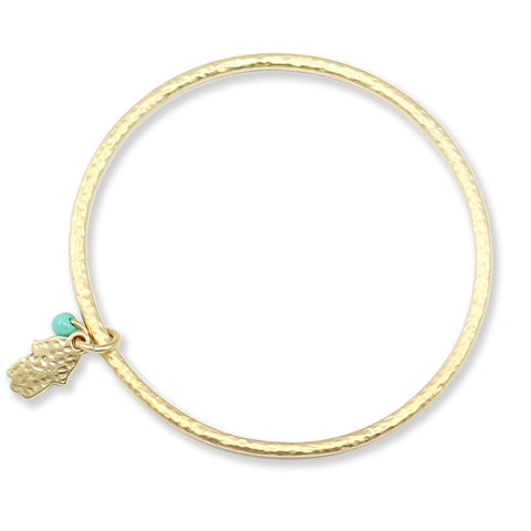 HAMSA THIN GOLD BANGLE
