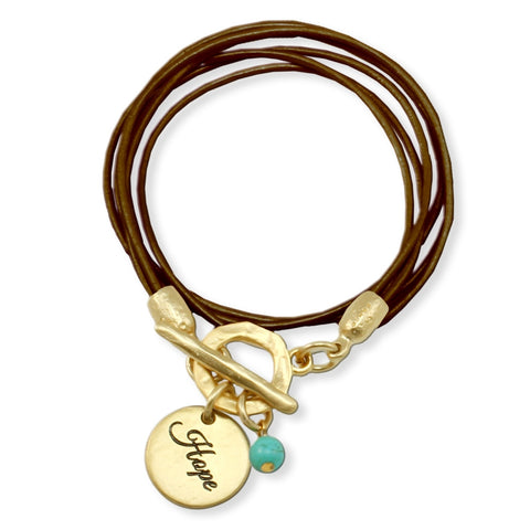 "LEATHER BRACELET ""HOPE"""