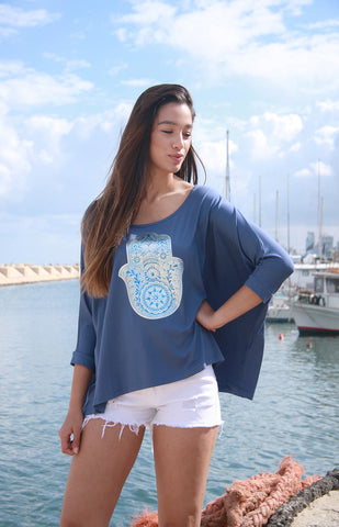 """HAMSA BLUES"" LOOSE FIT TOP"