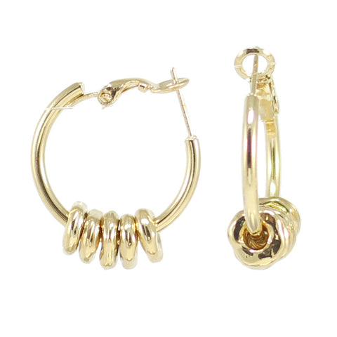 HOOPS GOLD EARRINGS WITH GOLD BEADS