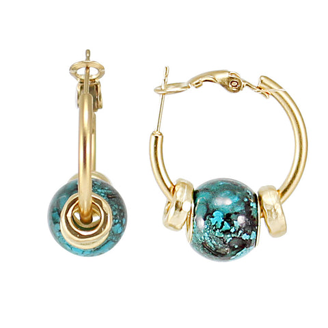 HOOP GOLD EARRINGS WITH TURQUOISE BEAD