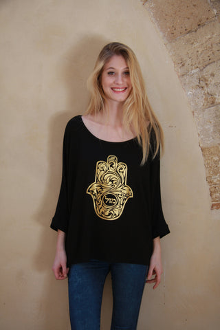 "GOLDEN HAMSA ""LUCK"" TOP"