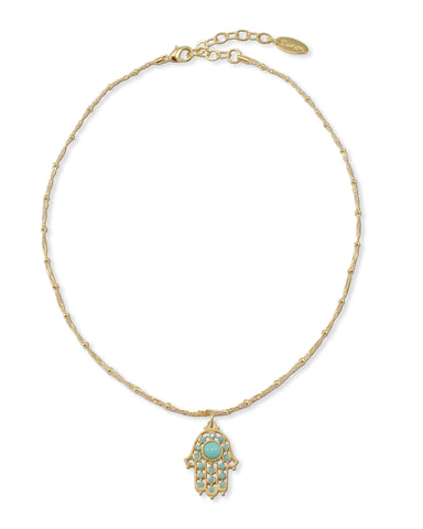 GOLD NECKLACE WITH HAMSA CHARM