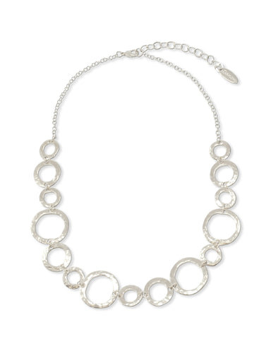 MULTI CIRCLES SILVER NECKLACE