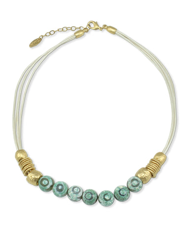 GOLD & TURQUOISE  LEATHER NECKLACE