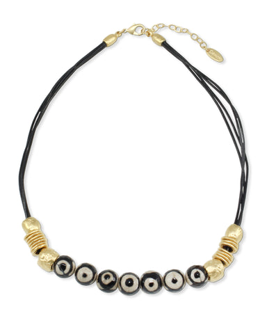 GOLD & BLACK LEATHER NECKLACE WITH EVIL EYES