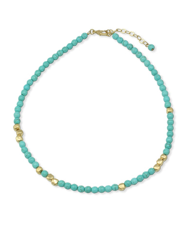 GOLD & TURQUOISE BEADS NECKLACE