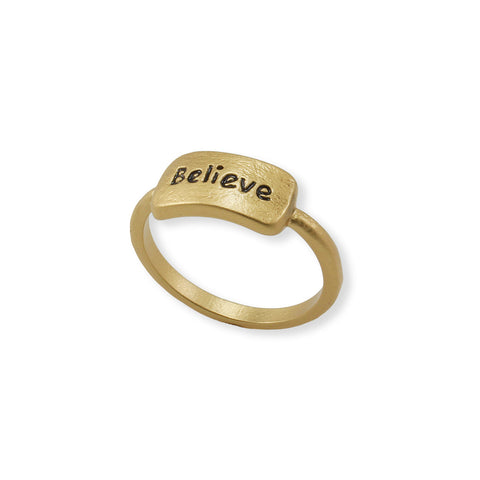 "GOLD RING WITH THE CAPTION ""BELIEVE"""
