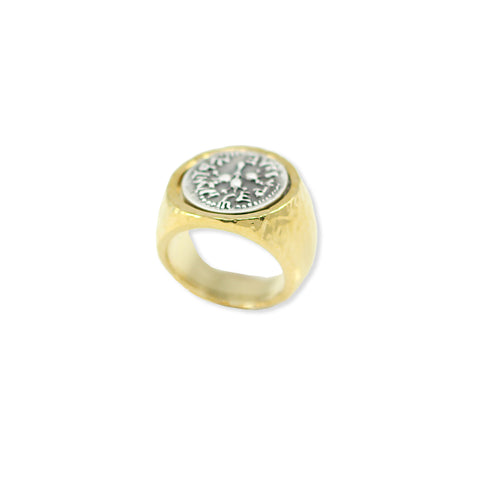 SIGNET STYLE RING ANCIENT SILVER COIN