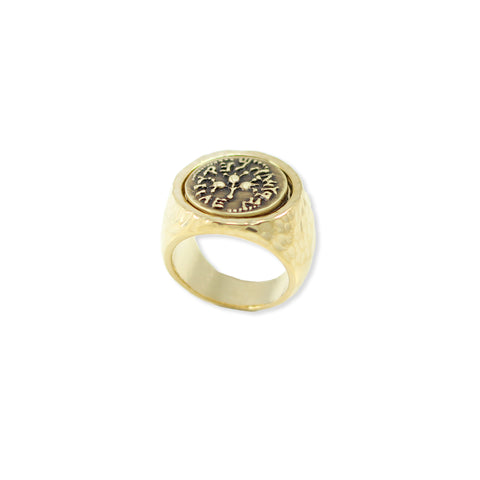 SIGNET STYLE RING ANCIENT BRONZE COIN
