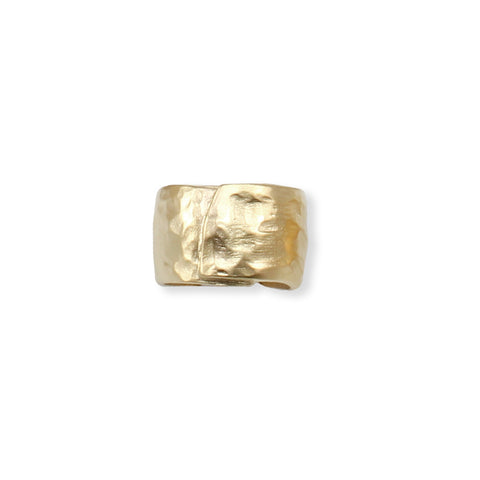 TEXTURED SCULPTED GOLD WRAP RING