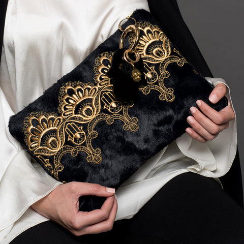 CLUTCH BAG GOLD HAMSA'S