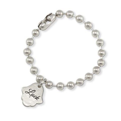 "SILVER BALL CHAIN BRACELET ""LUCK"""