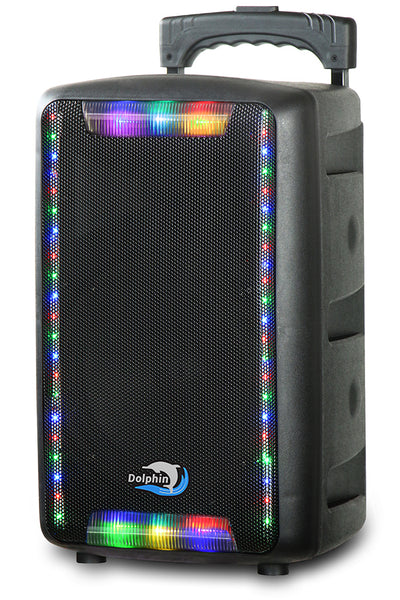 Portable 8 Inch Trolley Speaker with Multicolor Lights and Microphone - 1350W
