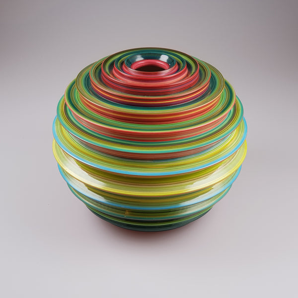 Striped Petaloid vase designed by Buchan Dennis in an edition of ten - uk-art-pottery-test-site