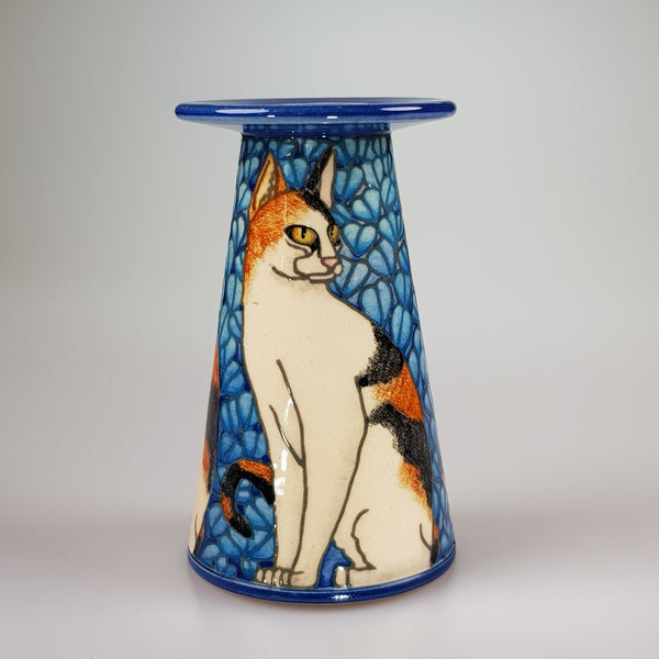 "Dennis Chinaworks Cat Black and Ginger Conical 5"" - uk-art-pottery-test-site"