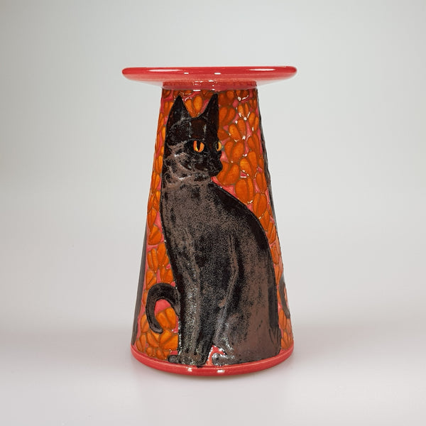 "Dennis Chinaworks Cat Black Conical 5"" - uk-art-pottery-test-site"