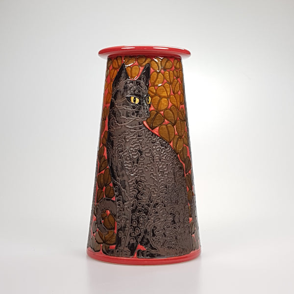 "Dennis Chinaworks Cat Black Conical 12"" - uk-art-pottery-test-site"