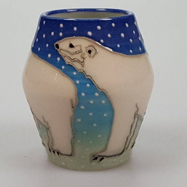 Dennis Chinaworks Sally Tuffin Polar Bear 3.5 inch vase