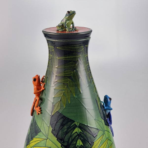 Dennis Chinaworks Frog Tree Flask 14""