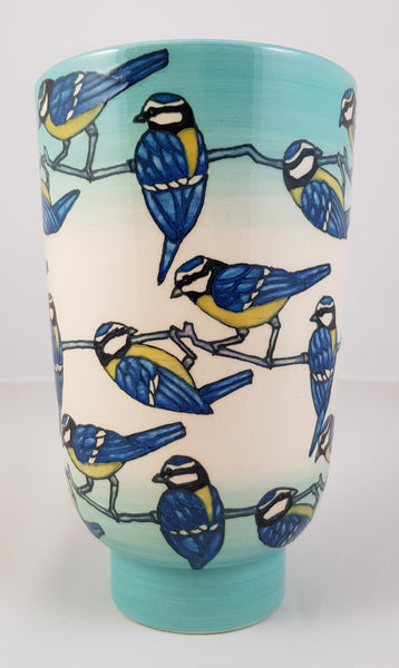 Trial Blue Tit 9 inch deco vase designed by Sally Tuffin for the Dennis Chinaworks