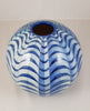 Buchan Dennis Trial Blue Waves 9.5 inch sphere - uk-art-pottery-test-site
