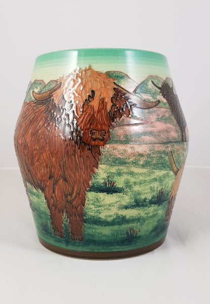 Dennis Chinaworks Trial Highland Cattle 8 inch barrel vase designed by Sally Tuffin