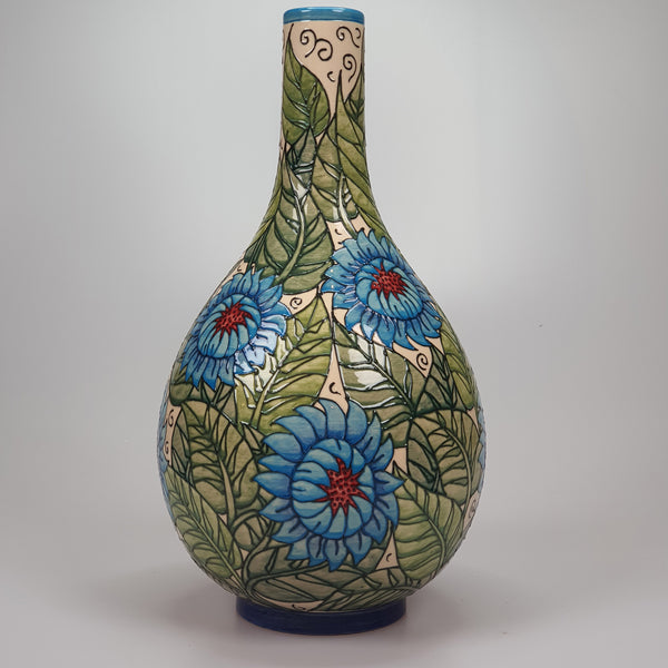 Dennis Chinaworks Blue Persian Flower large bottle vase after William DeMorgan