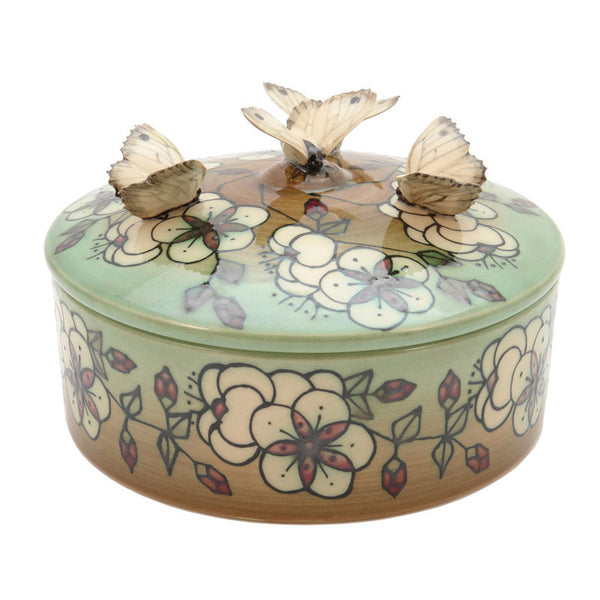 Dennis Chinaworks Blossom on green Lidded box 6.5