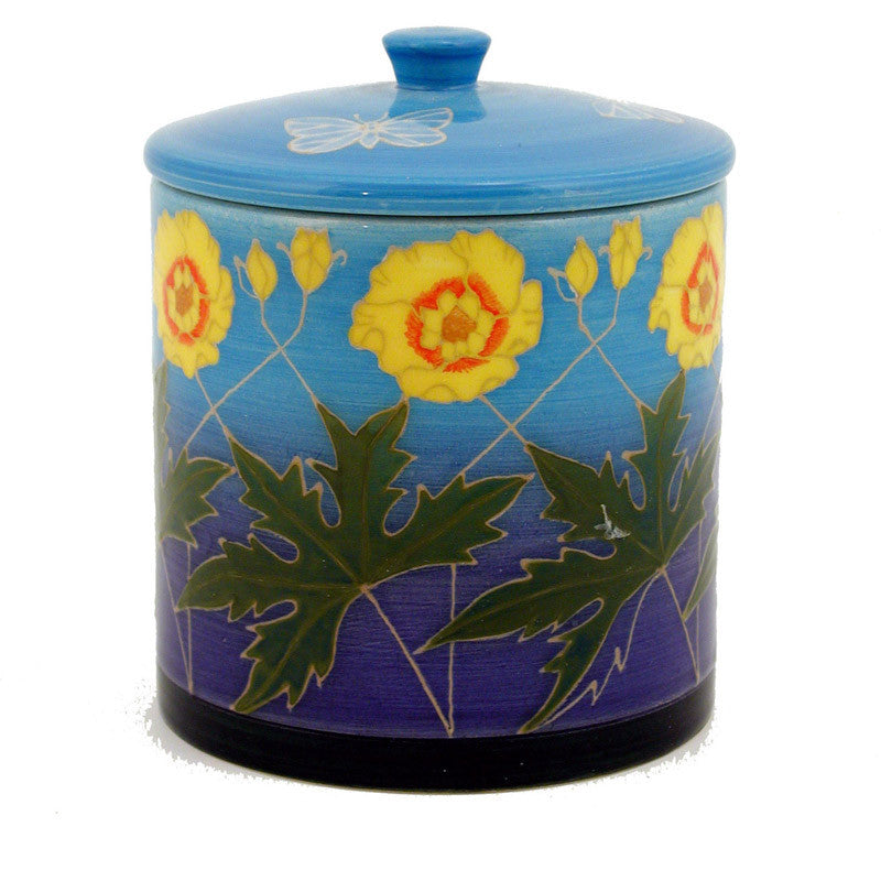 "Dennis Chinaworks Buttercup on Blue Lidded Box 6"" - uk-art-pottery-test-site"