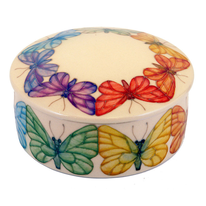 Dennis Chinaworks Butterfly Ivory revived Lidded Box 6.5