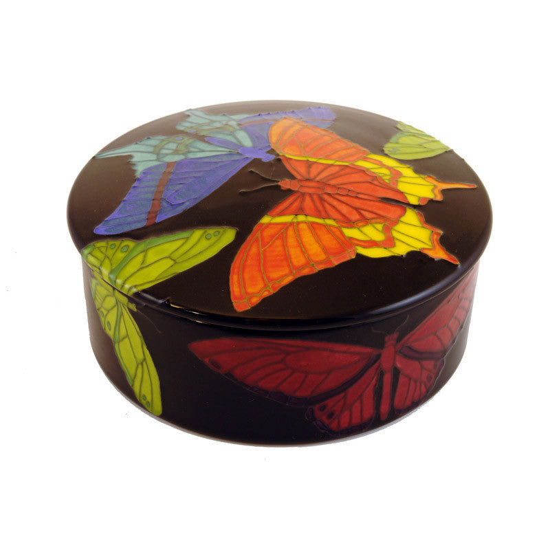"Dennis Chinaworks Butterfly on Black Lidded box 6.5"" - uk-art-pottery-test-site"