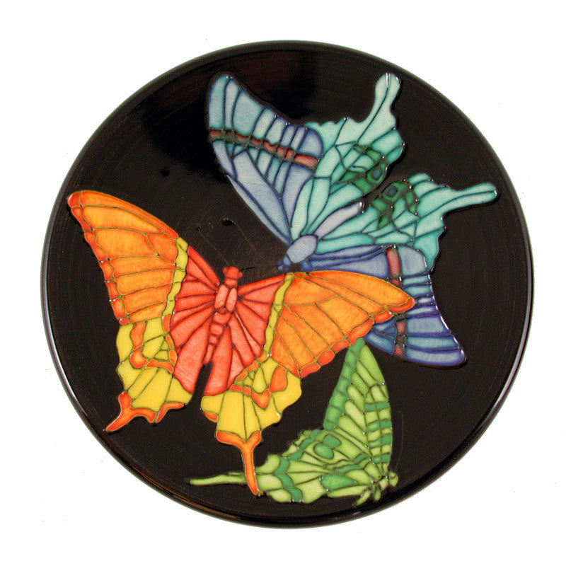 "Dennis Chinaworks Butterfly on Black Roundel 6"" - uk-art-pottery-test-site"