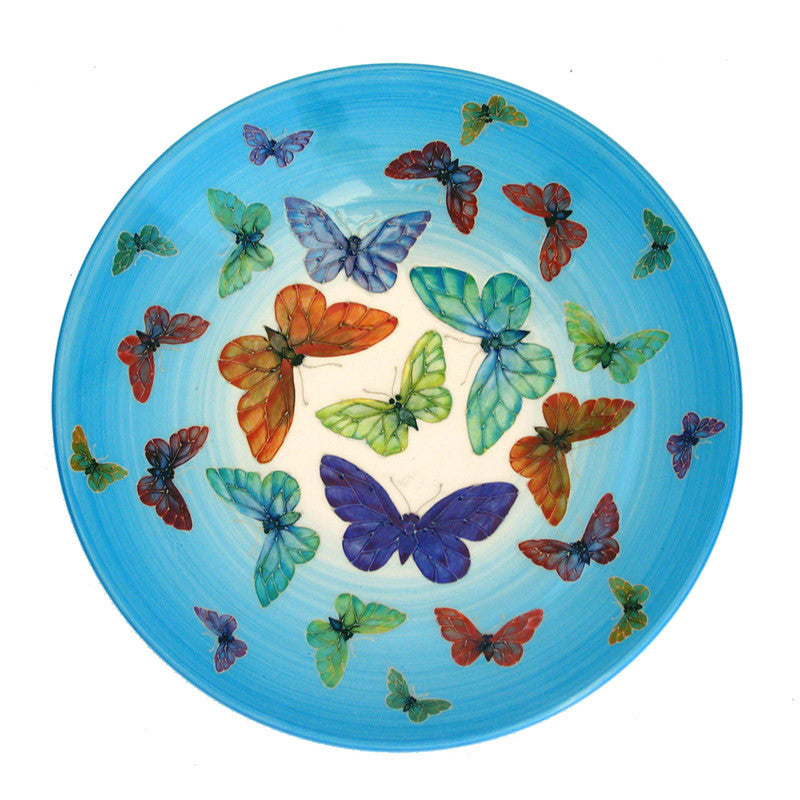 "Dennis Chinaworks Butterfly on Blue Charger 10.5"" - uk-art-pottery-test-site"