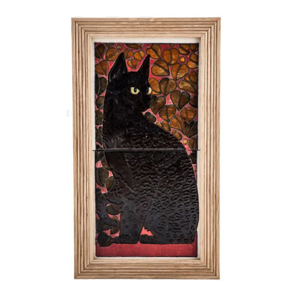 "Dennis Chinaworks Cat Black Tile 14"" - uk-art-pottery-test-site"