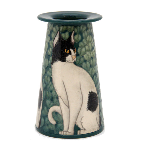 "Dennis Chinaworks Cat Black and White Conical 5"" - uk-art-pottery-test-site"