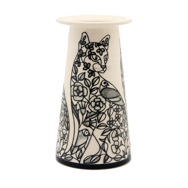 "Dennis Chinaworks Cat Embroidery Conical 6"" - uk-art-pottery-test-site"