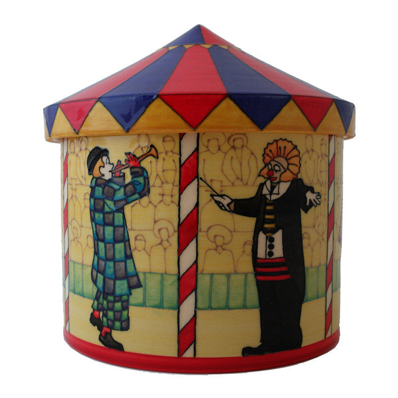 "Dennis Chinaworks Circus Tent Lidded Box 7"" - uk-art-pottery-test-site"