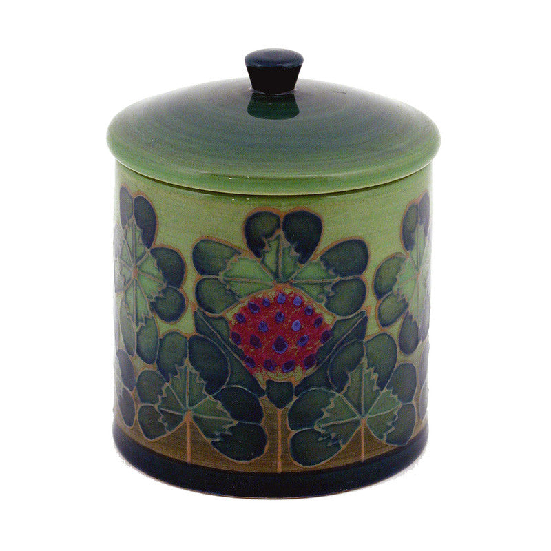 "Dennis Chinaworks Clover on Green Lidded Box 3.75"" - uk-art-pottery-test-site"
