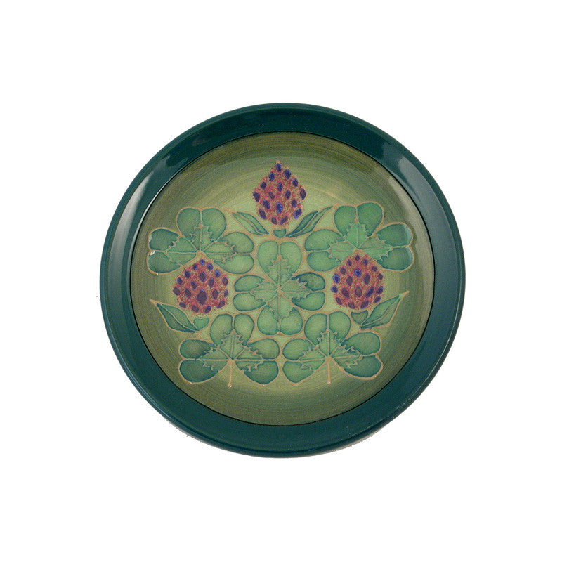 "Dennis Chinaworks Clover on Green Roundel 6"" - uk-art-pottery-test-site"