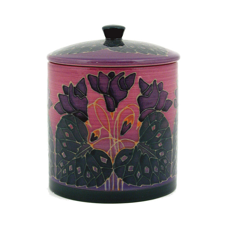 "Dennis Chinaworks Cyclamen on Purple Lidded Box 6"" - uk-art-pottery-test-site"